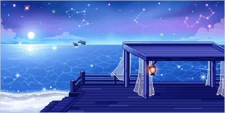 Анимация Шатер стоит над ночным озером