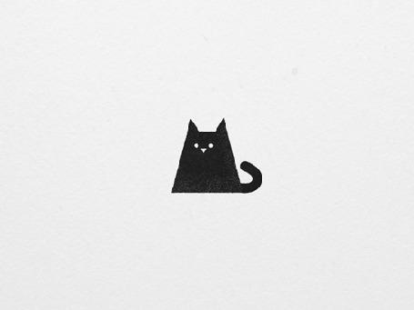 Анимация Черный котик оглядывается по сторонам, мяукает и пугает (MEOW!)