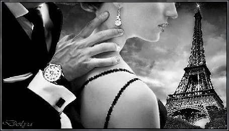 Анимация На фоне неба, облаков и эйфелевой башни мужчина рукой касается шеи девушки