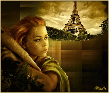 Анимация Девушка-шатенка на фоне Эйфелевой башни, by Юлия Ч