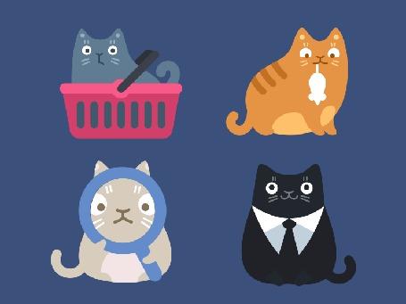 Анимация Серый кот в корзинке для товаров, рыжий кот с мышью, серый кот с лупой, черный кот с белой манишкой по очереди моргают