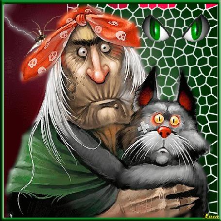 Анимация Персонаж русских народных сказок Баба Яга в розовой косынке на голове, с седыми длинными волосами держит серого кота, by киса
