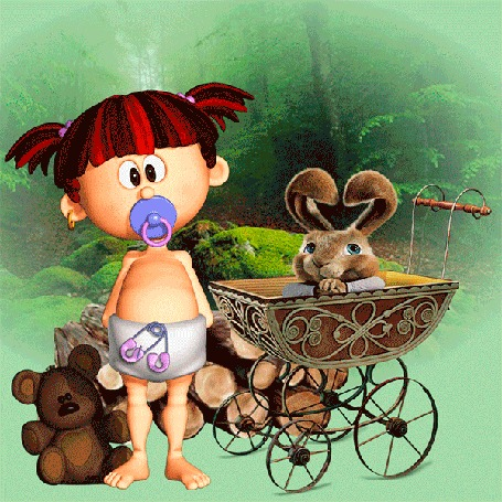 Анимация Девочка с разноцветными волосами, с пустышкой во рту, стоит у коляски, в которой сидит кролик, рядом плюшевый медвежонок на фоне леса
