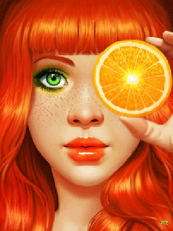 Анимация Рыжеволосая девушка с ярко-зелеными глазами закрывает глаз кружком апельсина
