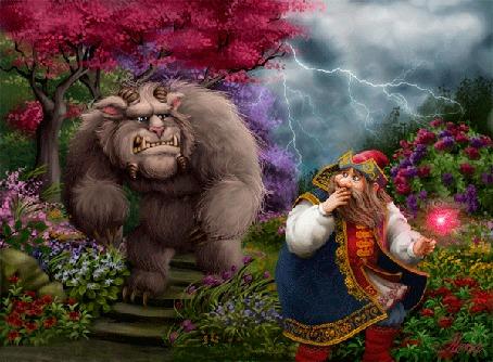 Анимация Чудище стоит на ступеньках, испуганный купец держит в руке, сорванный аленький цветочек, сказка Аленький цветочек