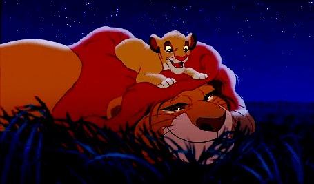 Анимация Маленький Симба лежит на Муфасе, момент из мультфильма Король Лев / The Lion King
