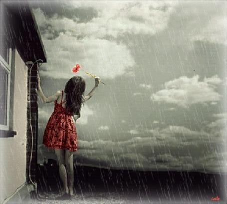Анимация Девушка возле дома подняла цветок к мрачному небу