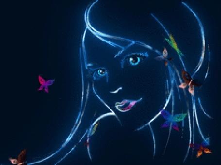 Анимация Нарисованная девушка с бабочками