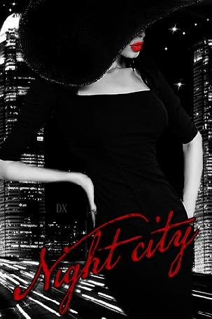 Анимация Девушка в элегантном вечернем платье и в черной шляпе с широкими полями стоит на фоне ночного города (Night city / Ночной город)
