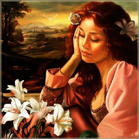Анимация Девушка-шатенка с длинными волосами, с белой лилией в волосах на фоне букета белых лилий, дороги, деревьев неба и летящей белой птицы, by Mira