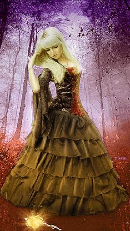Анимация Девушка с длинными светлыми волосами в коричневом длинном платье стоит на поляне в лесу среди деревьев, by Zuza