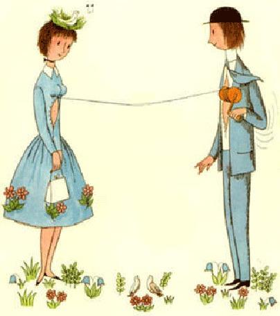 Анимация Парень в шляпе и костюме передает девушке, одетой в голубое платье и шляпку, по веревочке сердечко