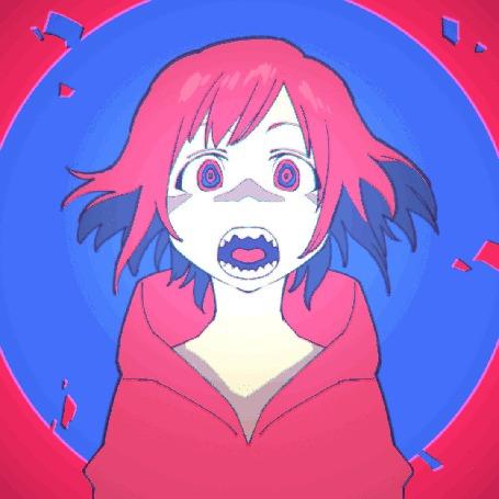 Анимация Девушка кричит на цветном фоне, art by ふじえ やまと