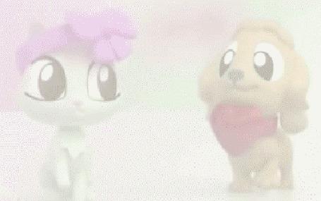 Анимация Котенок в бантике и щенок с сердечком знакомятся