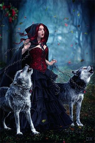 Анимация Ведьма с двумя цепными волками идет по лесу
