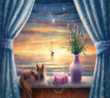 Анимация Кот на окне смотрит на корабль в море