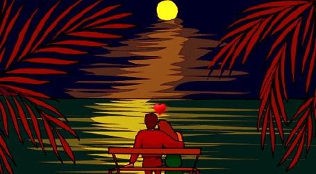 Анимация Влюбленная пара сидят на скамейке обнявшись на фоне заката над морем, луны и сердечка