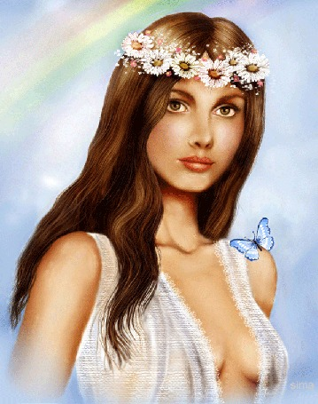 Анимация Девушка-шатенка с длинными волосами в венке их белых цветов на голове с бабочкой на плече на фоне радуги