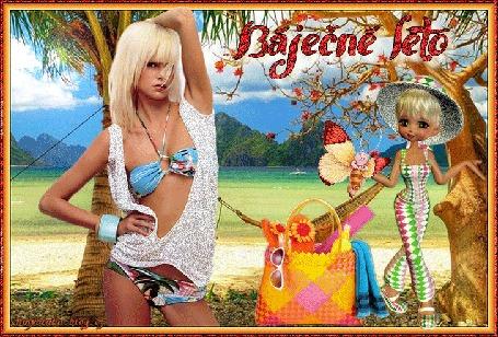 Анимация Блондинка в купальнике и в белой блузе стоит у дерева на фоне моря, гор, неба с облаками, пляжной сумочки, порхающей бабочки, и девушки в шляпе и в летнем брючном костюме (BaJecne leto / Сказочное лето)