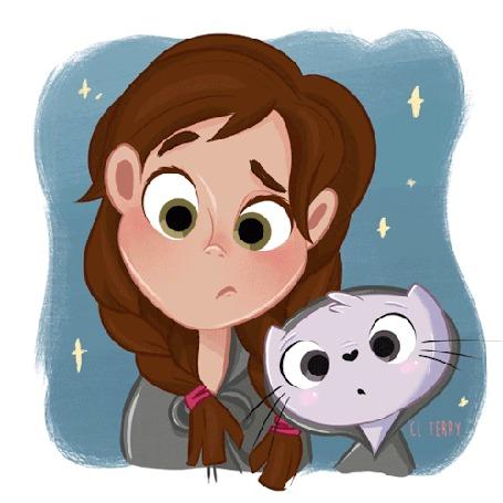 Анимация Девочка и кошка моргают по очереди