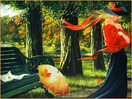 Анимация Девушка в шляпе с красной лентой покидает осенний парк, забыв возле скамейки свой зонтик