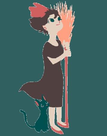 Анимация Kiki / Кики и котенок Jiji / Джиджи из аниме Kikis Delivery Service / Служба доставки Кики / Ведьмина служба доставки (© Arinka jini), добавлено: 25.07.2016 12:10