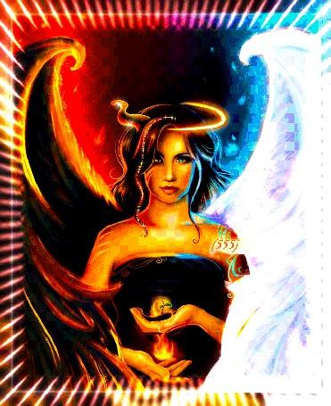 Анимация Девушка полу ангел - полу демон держит в одной руке дьявольский огонь, в другой зеленый росток жизни (© Azizam1), добавлено: 27.07.2016 16:14