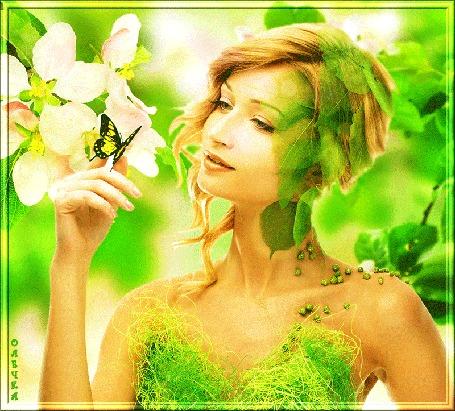 Анимация Шатенка с длинными волосами, собранными в прическу держит на пальце бабочку на фоне цветущих веток яблони, by Олечка