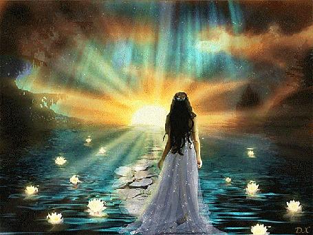 Анимация Фея идет по каменистой тропинке через пруд с лилиями навстречу восходу солнца