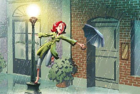 Анимация Девушка стоит у фонаря и машет зонтом