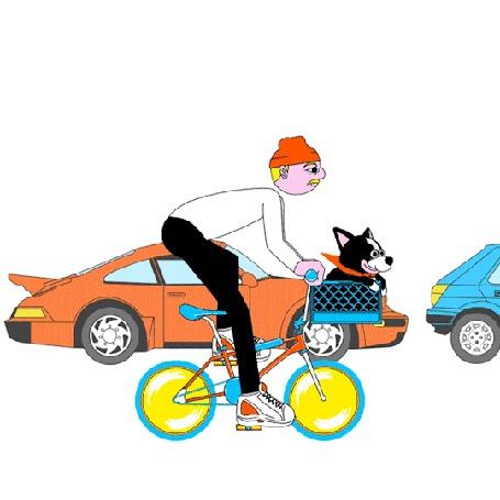 Анимация Парень едит на велосипеде со своей собакой