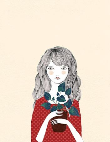 Анимация Девушка в красном платье с длинными волосами на фоне появляющихся красных цветов и синих птиц