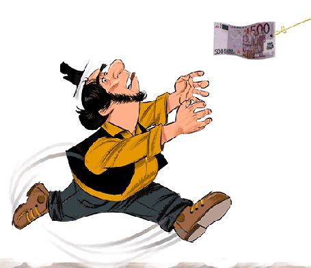 Анимация Мужчина с черными волосами в шляпе бежит за денежной купюрой