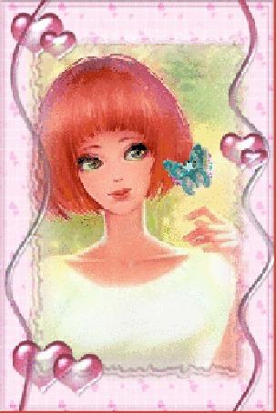 Анимация Рыжеволосая девушка с бабочкой
