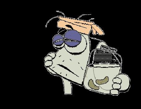 Анимация Серая личность держит банку с огурцами в рассоле и раскачивается, мучаясь головной болью после вчерашнего бурного застолья