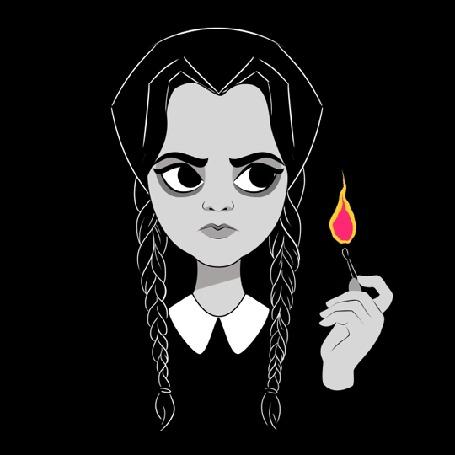 Анимация Девушка держит в руке горящую спичку