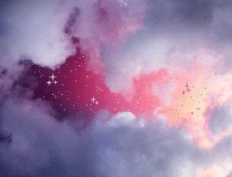 Анимация Звездное небо в облаках
