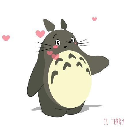 Анимация Totoro / Тоторо из аниме Tonari no Totoro / Мой сосед Тоторо, by CL Terry, посылает воздушные поцелуи (© zmeiy), добавлено: 06.08.2016 09:50