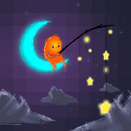 Анимация Фантастическое существо сидит на месяце с удочкой, на которой висят звезды