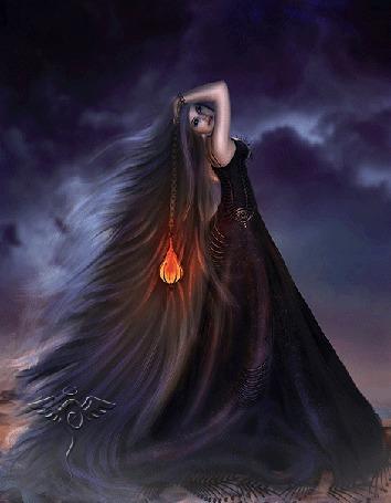 Анимация Девушка с длинными волосами в длинном платье стоит на фоне неба с молнией, из игры Dark Fantasy
