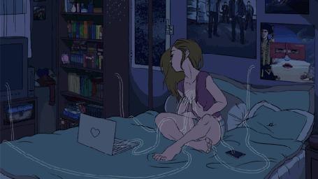 Анимация Девушка сидит на постели в комнате, оборудованной и связанной с ней техникой, из сердца идет ток по проводам