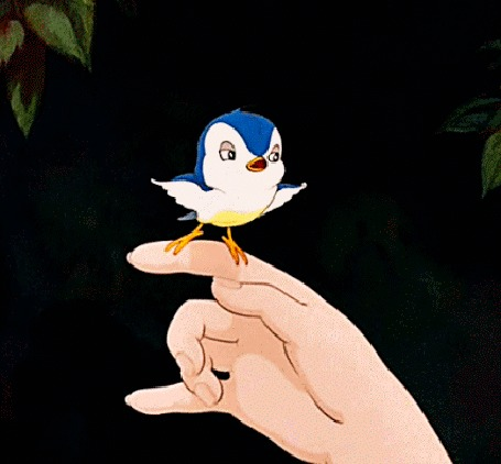 Анимация На руке Белоснежки прыгает птичка, Disney Princess Snow White