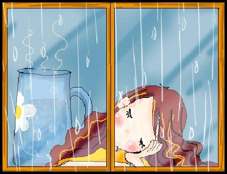 Анимация Девушка с рыжими волосами уснула за столом у окна под звуки дождя