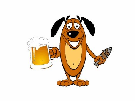 Анимация Довольная собака с кружкой пива и живой еще рыбой