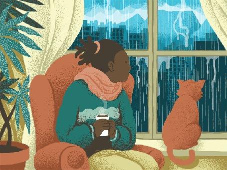 Анимация Девушка с чашкой и кот смотрят на дождь за окном