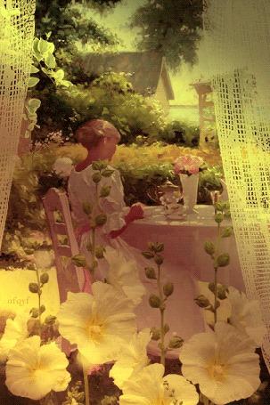 Анимация Девушка сидит за столом в летнем саду, на подоконнике растут белые цветы, колышутся занавески