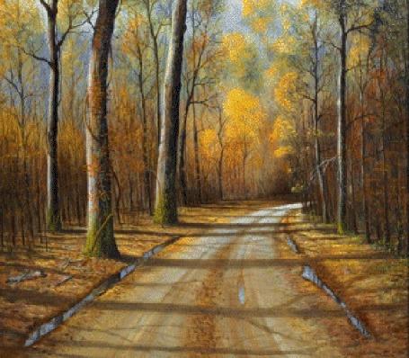 Анимация Парень с девушкой едут в авто по дороге по осеннему лесу