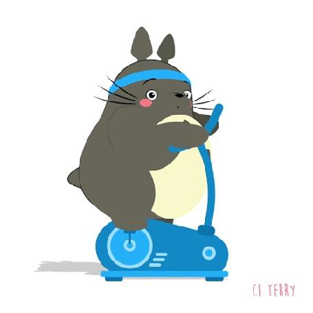 Анимация Totoro / Тоторо из аниме Tonari no Totoro / Мой сосед Тоторо в голубой повязке занимается едет на велотренажере, by CL Terry (© zmeiy), добавлено: 22.08.2016 07:45