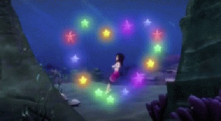 Анимация Океана в подыводном царстве, сердечко из морских звезд мультфильм Волшебная страна чудес