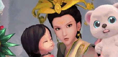 Анимация Марин (Marin) — мама держит Океану на руках, в глазах волшебницы из Небесного города отражается огонь появляющийся демон, мультфильм Волшебная страна чудес